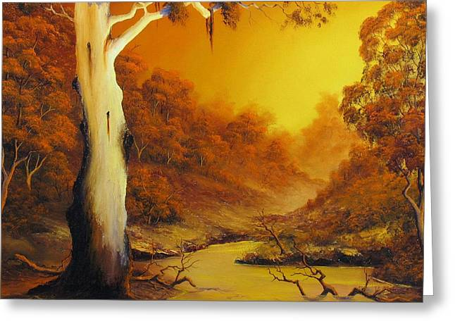 Landscapes Reliefs Greeting Cards - Billabong Greeting Card by John Cocoris
