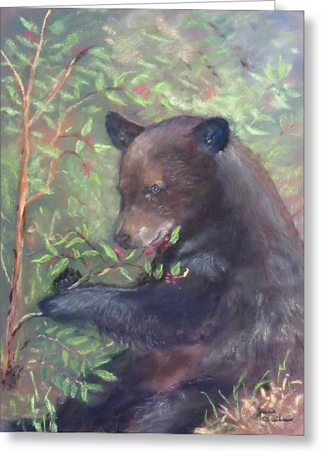 Black Berries Pastels Greeting Cards - Black Bear Greeting Card by Jane Baribeau