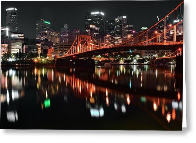 Black Night In Pittsburgh Greeting Card by Frozen in Time Fine Art Photography