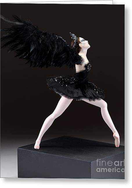 Tutu Mixed Media Greeting Cards - Black Swan  Greeting Card by Vickie Arentz