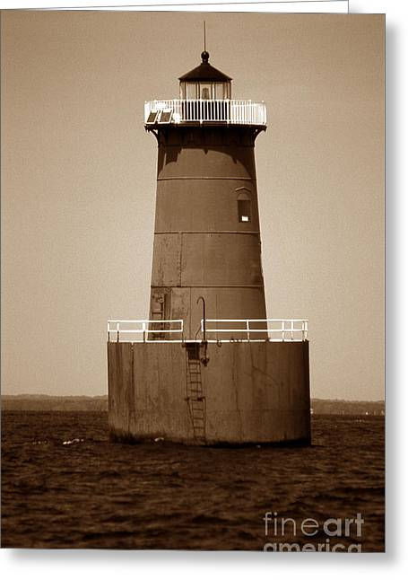 Bloody Point Lighthouse Md Greeting Card by Skip Willits