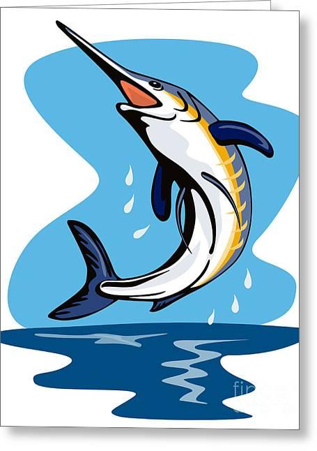 Blue Marlin.white Marlin Greeting Cards - Blue Marlin Jumping Greeting Card by Aloysius Patrimonio