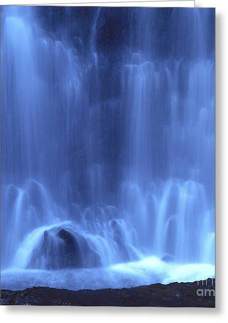 Transparency Greeting Cards - Blue waterfall Greeting Card by Bernard Jaubert