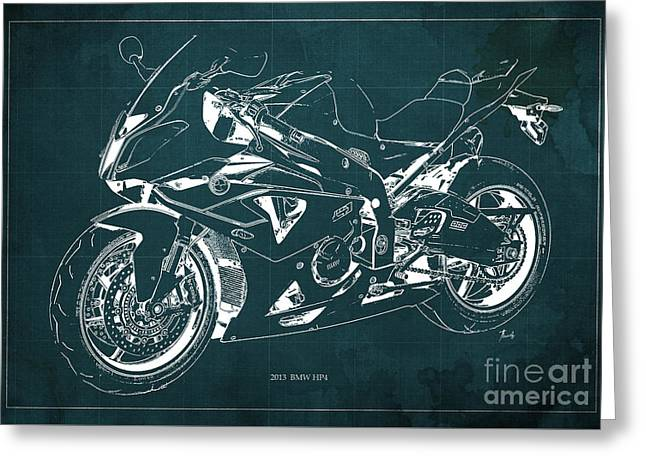 Bmw Hp4 2013 Blueprint Motorcycle, White Line, Vintage Background Greeting Card by Pablo Franchi