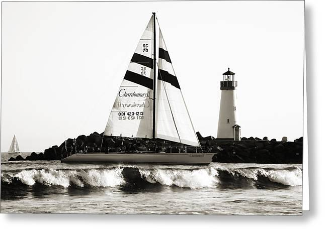 Santa Cruz Sailboat Greeting Cards - 2 Boats Approach 2 Greeting Card by Marilyn Hunt
