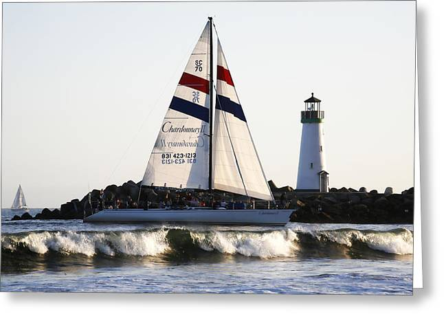 Santa Cruz Sailboat Greeting Cards - 2 Boats Approach Greeting Card by Marilyn Hunt