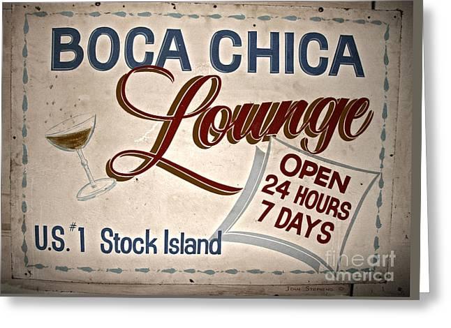 Boca Chica Lounge Sign Stock Island Florida Keys Greeting Card by John Stephens