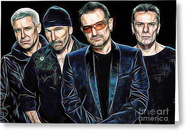 Rock And Roll Greeting Cards - Bono U2 Collection Greeting Card by Marvin Blaine