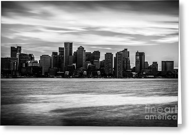 Outside Pictures Greeting Cards - Boston Skyline Black and White Picture Greeting Card by Paul Velgos