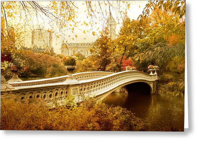 Iron Greeting Cards - Bow Bridge Autumn Greeting Card by Jessica Jenney