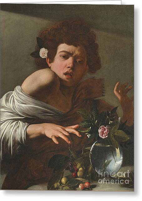 Boy Bitten By A Lizard Greeting Card by Caravaggio