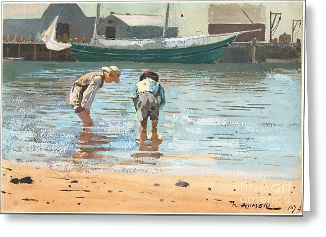 Winslow Homer Greeting Cards - Boys Wading Greeting Card by Celestial Images