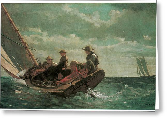 Sea Going Greeting Cards - Breezing Up Greeting Card by Winslow Homer