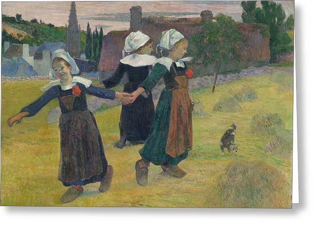 Breton Girls Dancing Greeting Card by Paul Gauguin