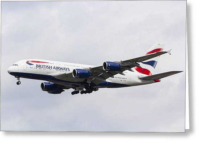 A380 Greeting Cards - British Airways Airbus A380 Greeting Card by David Pyatt