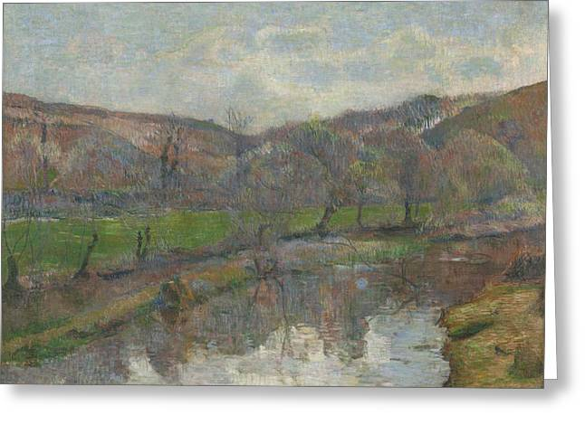 Outlook Paintings Greeting Cards - Brittany Landscape Greeting Card by Paul Gauguin
