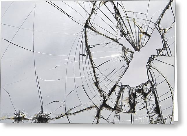Broken Windows Greeting Cards - Broken Greeting Card by Glennis Siverson
