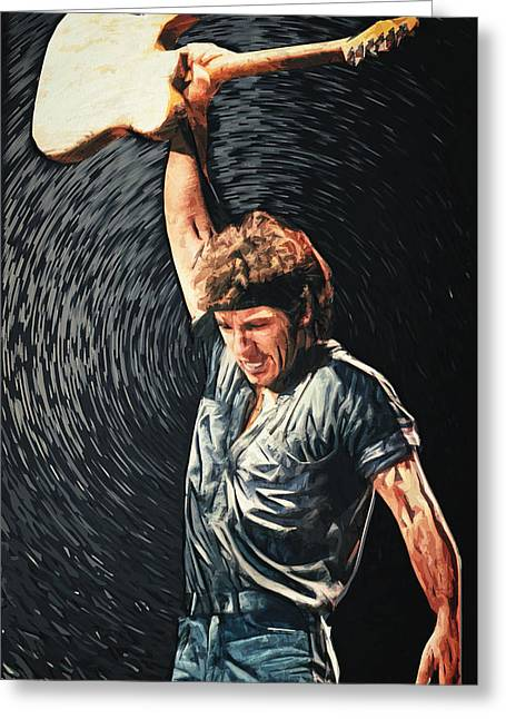 Fender Esquire Greeting Cards - Bruce Springsteen Greeting Card by Taylan Soyturk
