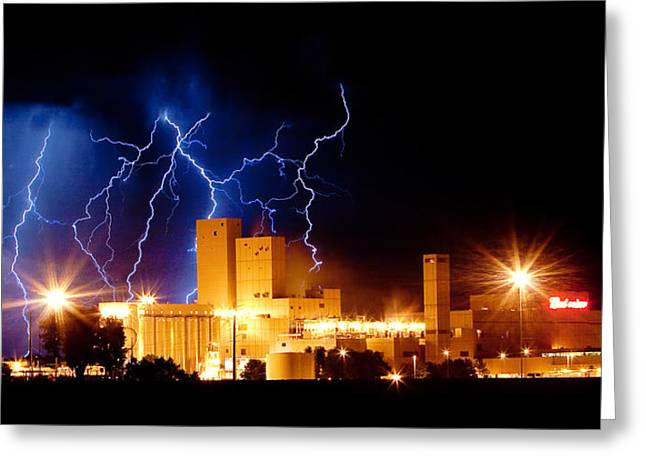 Lightning Strike Greeting Cards - Budweiser Lightning Thunderstorm Moving Out Crop Greeting Card by James BO  Insogna