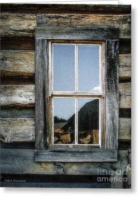 Log Cabins Greeting Cards - Cabin Window Greeting Card by Todd A Blanchard