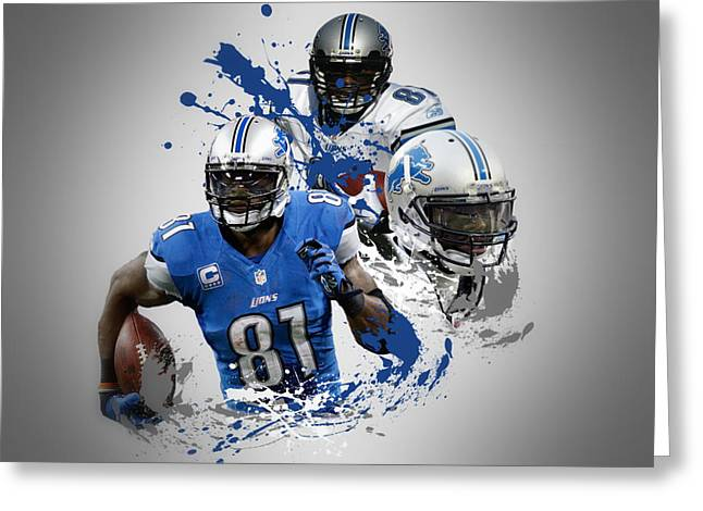 Lions Greeting Cards - Calvin Johnson Lions Greeting Card by Joe Hamilton