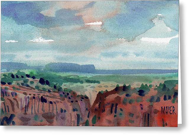 Canyons Paintings Greeting Cards - Canyon Overlook Greeting Card by Donald Maier