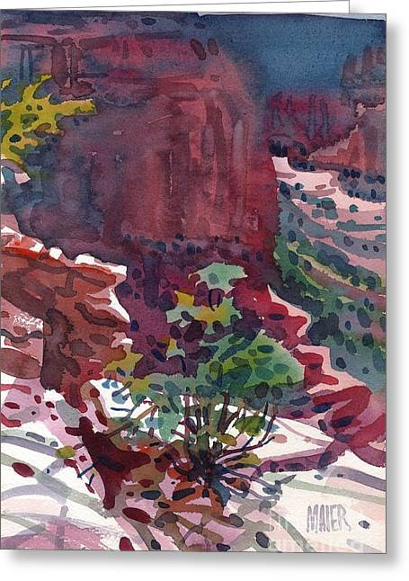 Canyons Paintings Greeting Cards - Canyon View Greeting Card by Donald Maier