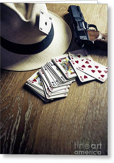 Card Gambling Greeting Card by Carlos Caetano