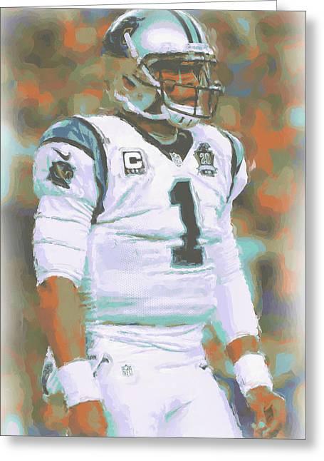Carolina Panthers Cam Newton Greeting Card by Joe Hamilton