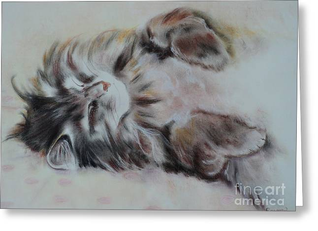Feline Pastels Greeting Cards - Cat Nap Greeting Card by Carla Carson