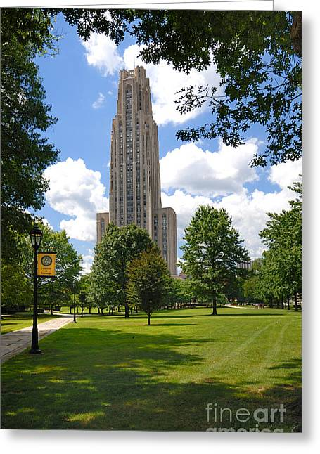 Campus Greeting Cards - Cathedral of Learning University of Pittsburgh Greeting Card by Amy Cicconi