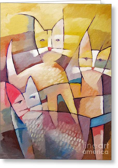 Abstract Cat Greeting Cards - Catlife Greeting Card by Lutz Baar