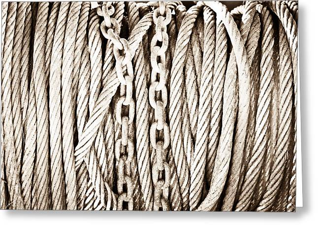 Heavy Industry Greeting Cards - Chains and cables Greeting Card by Tom Gowanlock