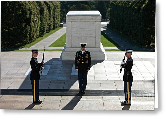 Famous Place Greeting Cards - Changing Of Guard At Arlington National Greeting Card by Terry Moore