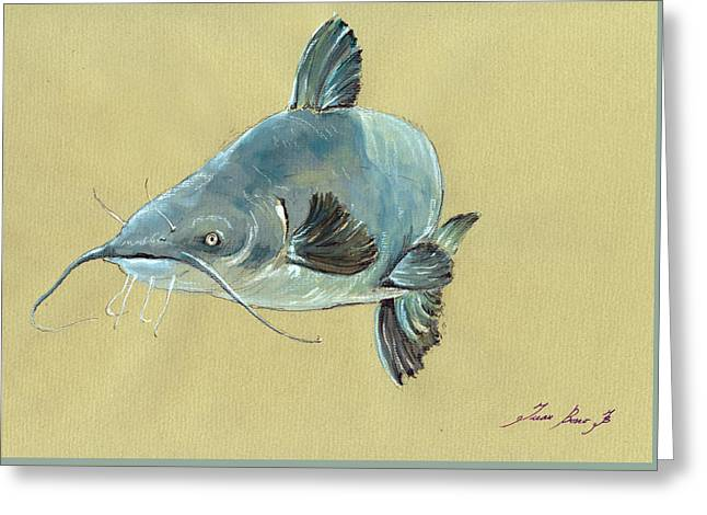 Channel Catfish Fish Animal Watercolor Painting Greeting Card by Juan  Bosco