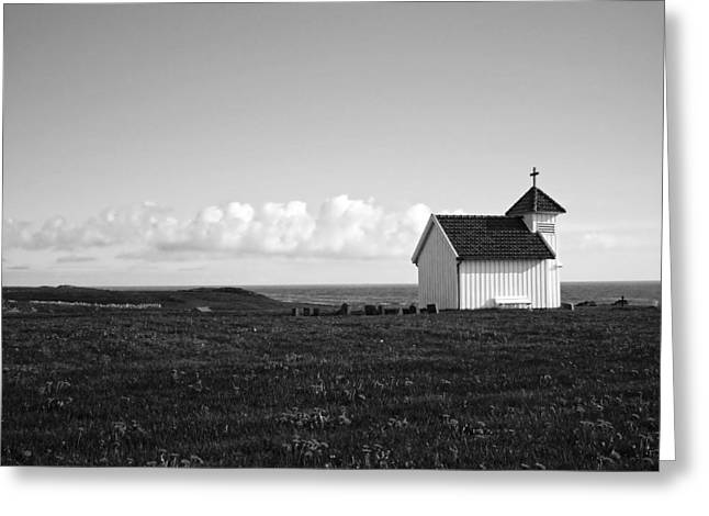 Headstones Greeting Cards - Chapel By The Sea In Norway Greeting Card by Eutonia