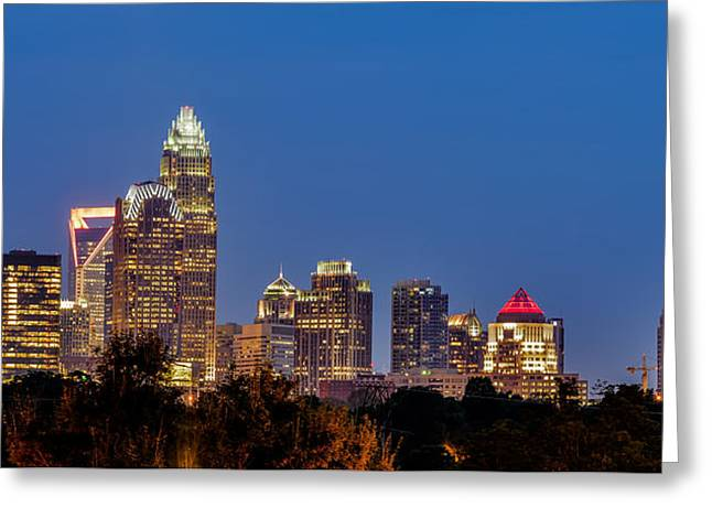 Charlotte Greeting Cards - Charlotte North Carolina Night Skyline Greeting Card by Alexandr Grichenko