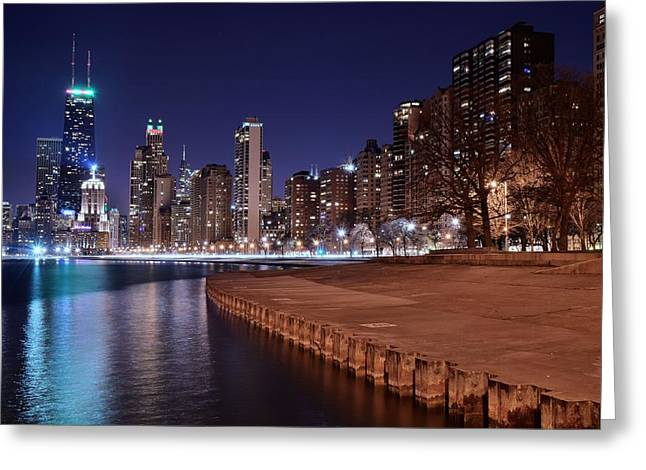 Ferris Wheel Greeting Cards - Chicago from the North Greeting Card by Frozen in Time Fine Art Photography