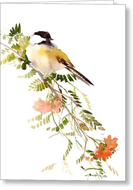 Chickadee Greeting Card by Suren Nersisyan
