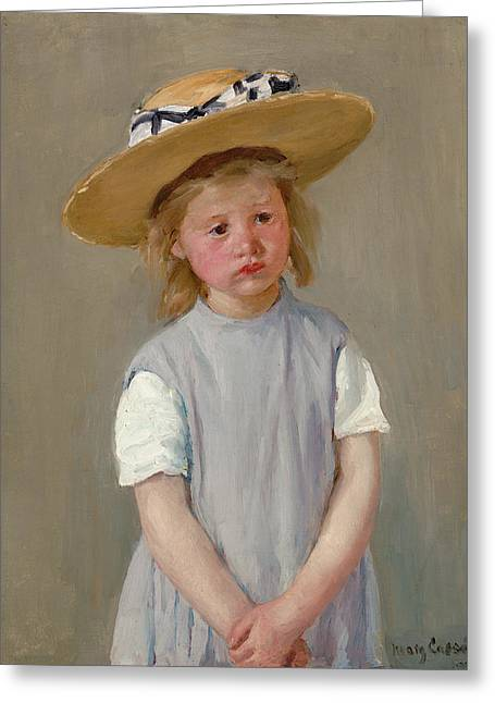 Crossed Hands Greeting Cards - Child In A Straw Hat Greeting Card by Mary Cassatt