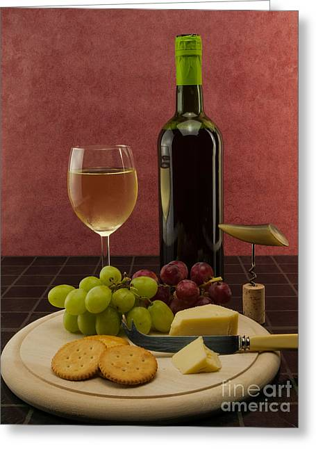 Red Wine Bottle Greeting Cards - Chilled Wine With Cheese And Grapes Greeting Card by F Helm