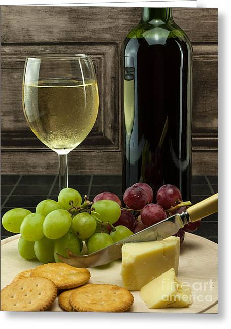 Red Wine Bottle Greeting Cards - Chilled Wine With Grapes And Cheese Greeting Card by F Helm