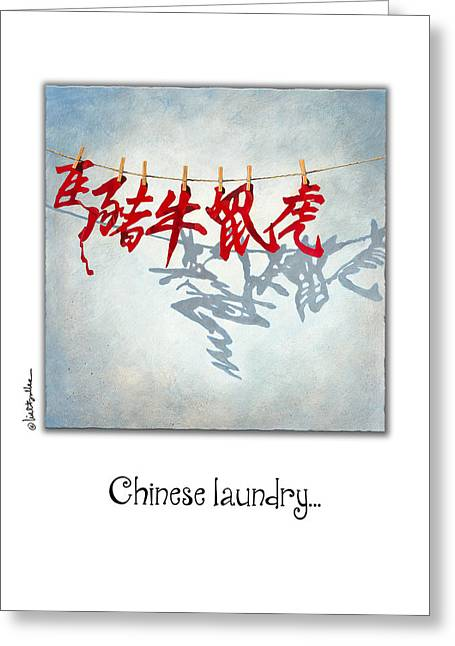 Signs Of The Zodiac Paintings Greeting Cards - Chinese Laundry... Greeting Card by Will Bullas