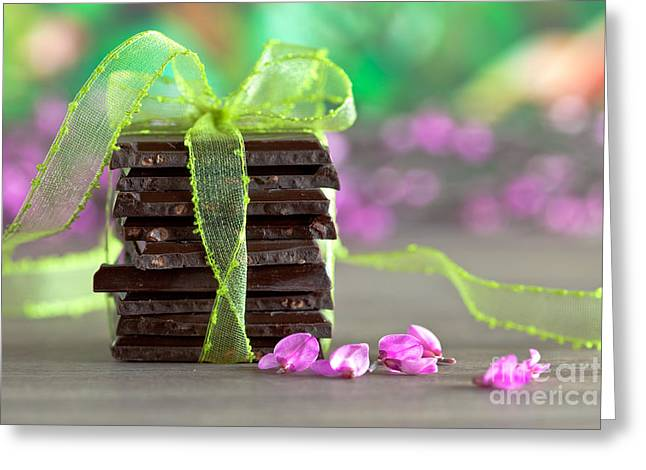 Ribbon Greeting Cards - Chocolate Greeting Card by Nailia Schwarz