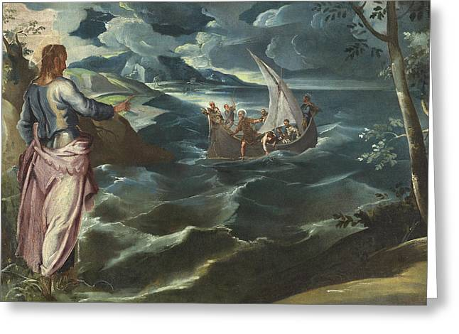 Sea Of Storms Greeting Cards - Christ at the Sea of Galilee Greeting Card by Tintoretto