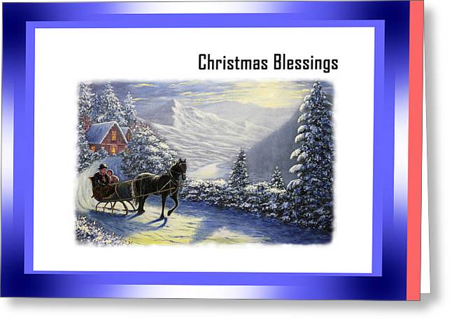 Snow Scene Landscape Greeting Cards - Christmas Blessings  Greeting Card by Saeed Hojjati