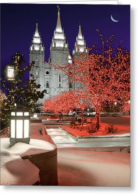 Best Sellers -  - Snowy Evening Greeting Cards - Christmas Lights at Temple Square Greeting Card by Utah Images