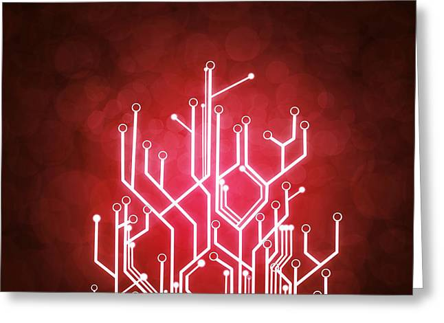 Integrated Greeting Cards - Circuit Board Greeting Card by Setsiri Silapasuwanchai