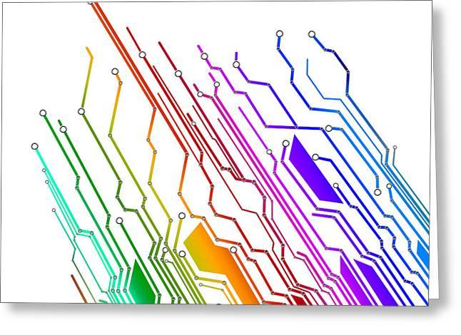 circuit board technology Greeting Card by Setsiri Silapasuwanchai