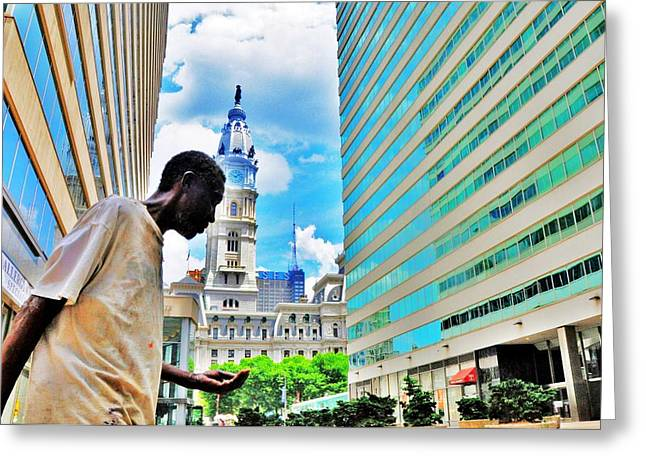 City Hall Greeting Cards - City Hall Man Greeting Card by Andrew Dinh
